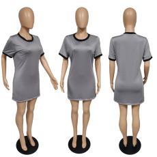 Plus Size Casual Short Sleeve O Neck Mini Dress MUKF-032