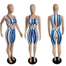 Casual Striped Tank Top And Shorts 2 Piece Sets MUKF-029