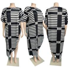 Loose Striped Plus Size Casual Dress JGEF-JG054