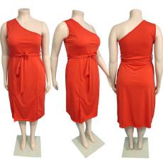 Fashion Slant Shoulder Solid Color Double Pocket Plus Size Dress JGEF-JG052