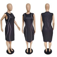 Plus Size Black Sleeveless Knee Length Dress MUKF-034