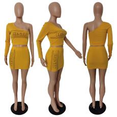 Letter Print Single Sleeve Short Skirts Two Piece Sets JGEF-JG010
