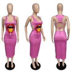 Fashion Lip Print Sleeveless Dress JGEF-JG021