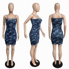 Sexy Twelve Constellation Print Spaghetti Strap Mini Dress JGEF-JG011