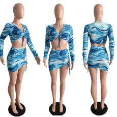 Fashion Print Crop Top Short Skirts Two Piece Sets JGEF-JG003
