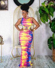 Sexy Fashion Tie-dye Printed Sleeveless Long Dress JGEF-JG041