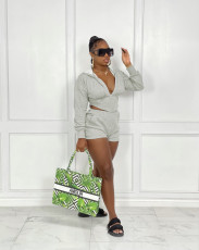 Solid Hooded Long Sleeve Two Piece Shorts Set ZNF-9100