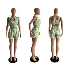 Print Casual Sleeveless Top Shorts  Two Piece Sets JGEF-JG005