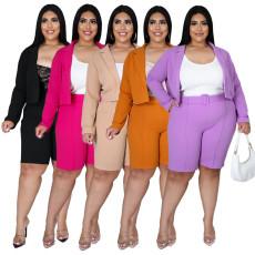 Plus Size Solid Blazer Coat Belted Shorts 2 Piece Sets NNWF-7257