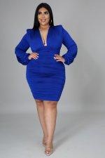 Plus Size Sexy Deep V Ruched Long Sleeve Bodycon Dress NNWF-7242