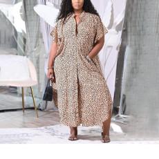 Plus Size Casual Printed Short Sleeve Maxi Dress NNWF-7249