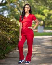 Red V Neck T Shirt And Pants 2 Piece Suits ZDF-31132