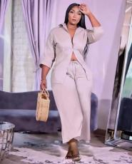 Plus Size Casual Solid Two Piece Pants Set YMEF-5032