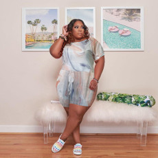 Plus Size Casual Printed Short Sleeve Romper HBF-4041