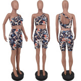 Sexy Printed One Shoulder Two Piece Shorts Set ZDF-31126