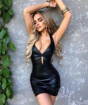 Sexy PU Leather Backless Cross Strap Club Dress DYF-1085