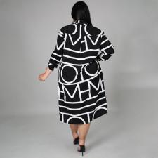 Plus Size CasuaL Printed Long Sleeve Shirt Dress NNWF-7255