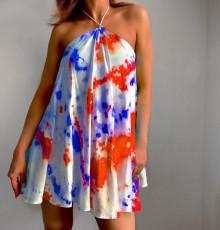 Sexy Tie Dye Print Halter Club Dress ZDF-31157
