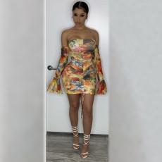 Floral Print Off Shoulder Flare Sleeve Mini Dress AYF-1011