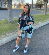 Casual Printed T Shirt And Shorts Two Piece Sets ZDF-31122