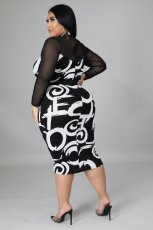 Plus Size Mesh Patchwork Long Sleeve Midi Dress NNWF-7258