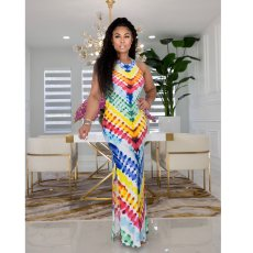 Tie Dye Print Sleeveless Maxi Dress ZDF-31151