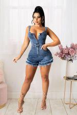 Denim Sleeveless Jeans Romper LX-6905