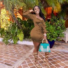 Sexy Ruched Long Sleeve Club Dress YN-88812