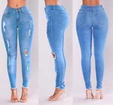 Plus Size Denim Ripped Hole Skinny Jeans Pants OLYF-721347
