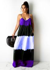 Printed Contrast Color Spaghetti Strap Loose Maxi Dress CXLF-KK840