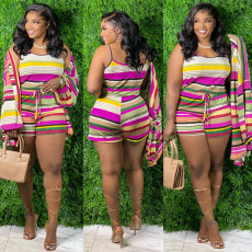 Contrast Color Striped Camisole Shorts Two Piece Sets (Without Coat) CXLF-KK820