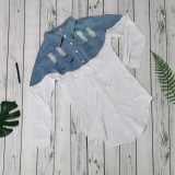 Casual Denim Patchwork Draswstring Shirt Dress WY-6836