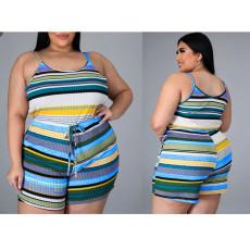 Plus Size Contrast Color Striped Camisole Shorts Two Piece Sets CXLF-KK850