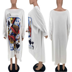 Poker Print Long Sleeve Loose Long Dress CTHF-9092