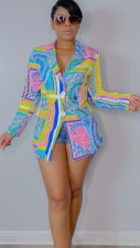 Colorful Printed Notched Collar Full Sleeve Blazer Coat QZX-6225