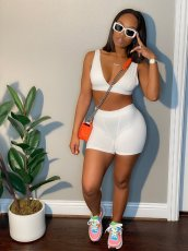Solid Color Sexy Tight Sleeveless Backless Top Shorts Two Piece Sets CXLF-KK845