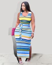 Sleeveless Contrast Color Striped Print Dress CXLF-KK828