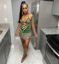 Sexy Print Summer Halter Bra Top And Dress Two Piece Set CXLF-KK816