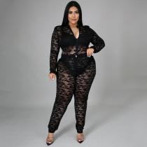 Plus Size Lace Perspective Bodysuit+Pants 2 Piece Sets NNWF-7264