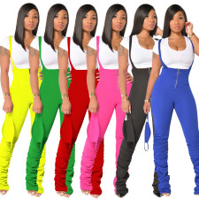 Plus Size Solid Straps Stacked Jumpsuits Without Mask PIN-8528