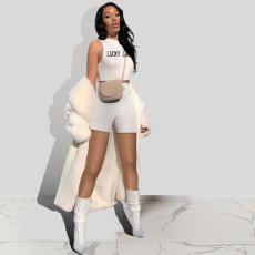 Casual LUCKY LABEL Letter Print Vest Shorts Two Piece Sets CXLF-KK834