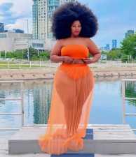 Plus Size Tube Top+Mesh Long Skirt 2 Piece Sets BLX-8225