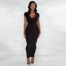 Sexy Solid Backless Zipper Split Slim Maxi Dress YF-9939