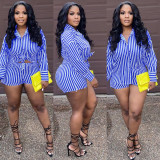 Casual Striped Shirt Top And Shorts Two Piece Sets QY-5258