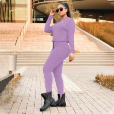 Casual Solid Long Sleeve Two Piece Pants Set TMF-80058