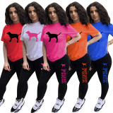 Pink Letter Print T Shirt And Shorts 2 Piece Sets FST-FA7236
