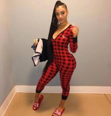 Casual Plaid V Neck Long Sleeve Jumpsuit FST-FA7038
