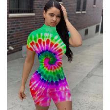Tie Dye Print Short Sleeve Tight Romper FST-FA7110