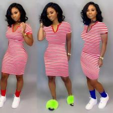 Plus Size Striped Short Sleeve Knee Length Dress FST-FA7040