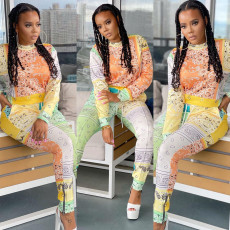 Casual Printed Long Sleeve Two Piece Pants Set WSYF-5896